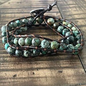 6.5mm African Turquoise Double Wrap Bracelet